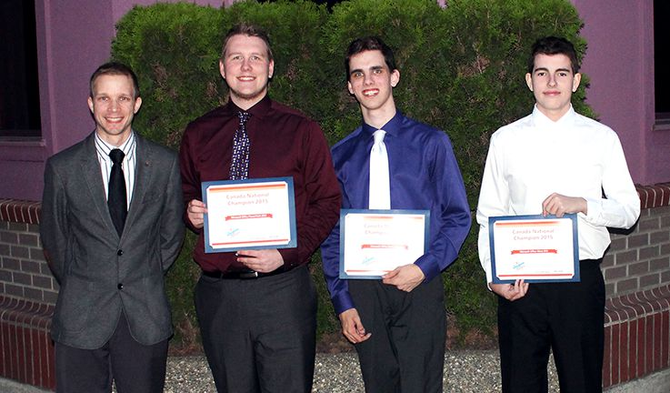 Left to right: Westview Secondary School IT Instructor Todd Goodman with his students Trevor Dean (Microsoft PowerPoint 2013 National Champion), Nash Taylor (Microsoft Excel 2013 National Champion), and Phillip MacBride (Microsoft Word 2013 National Champion).